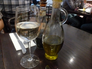 House white wine and classic Italian condiments
