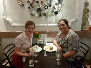 l-r: Katie and Meral enjoying the meal
