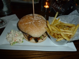 Chicken Burger with chips and coleslaw