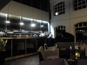 The bar and piano area