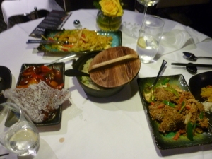 l-r: Mandarin Fillet Beef, spicy noodles, egg fried rice and Hainan Ginger Beef