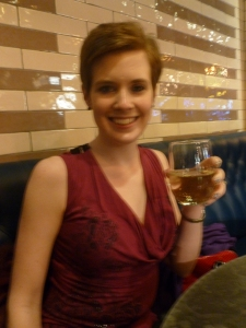 Me and the freaky stem-less wine glass!