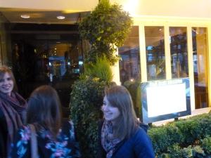 Entering the restaurant