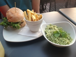 Giraffe burger, skin on fries and herby rice