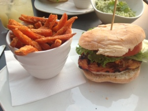 Mexican Chicken Burger and sweet potato fries